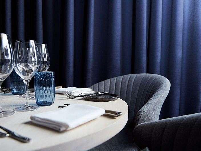 Interiør af Restaurant blå tema